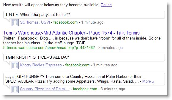 Facebook in Realtime Ergebnissen