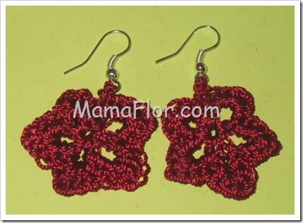 Aretes de Flor Tejidas a Crochet