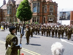 Gurkha soldiers outside council house