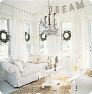 hOLIDay decorating in white Coastal Lving Deborah Whitlaw Llewellyn