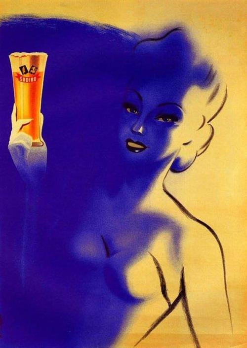 Cartazes antigos de cervejas com mulheres