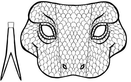 Dibujo recortable Máscara de serpiente ,colorear y recortar
