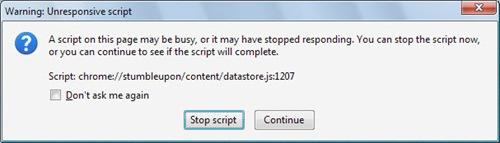 Warning: Unresponsive Script Firefox