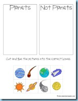 Solar System Sorting Printable