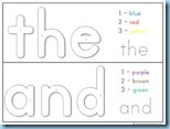 Color By Number Sight Words the and