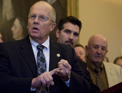 State Rep. Mike Noel, left, says climate change regulation is a bad idea. (Jim Urquhart / The Salt Lake Tribune)