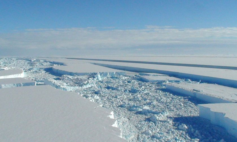 Parts of the Wilkins Ice Shelf now look like shattered panes of glass. British Antarctic Survey