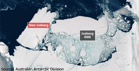 20 February 2010: the Mertz Glacier tongue breaks off creating another massive iceberg. Australian Antarctic Division