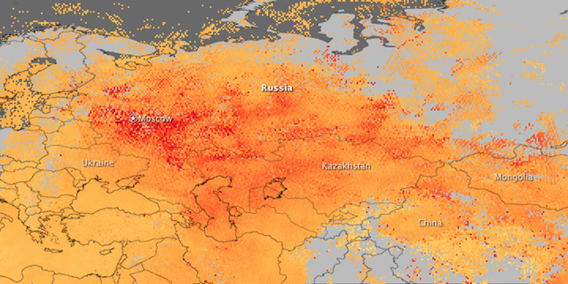 This image, made with data from the Measurements of Pollution in the Troposphere (MOPITT) sensor flying on NASA's Terra satellite, shows carbon monoxide over western Russia between August 1 and August 8, 2010. The highest levels of carbon monoxide are shown in red, while lower levels are yellow and orange. NASA Earth Observatory image created by Jesse Allen, using data provided by Gabriele Pfister, the National Center for Atmospheric Research (NCAR) and the University of Toronto MOPITT Teams.