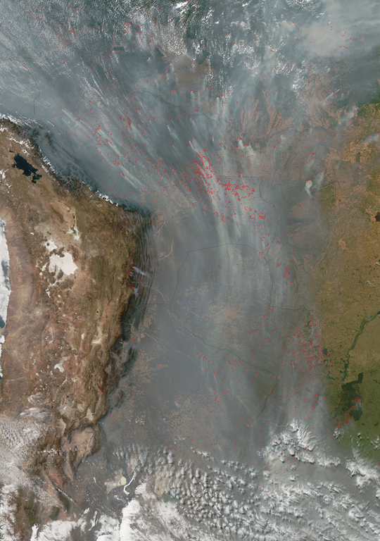 Fires and smoke in South America, September 1, 2010. Jeff Schmaltz, MODIS Land Rapid Response Team, NASA GSFC