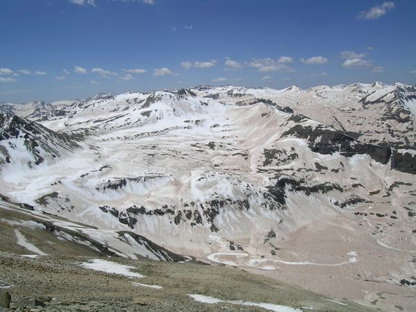 Dust on top of snowpack, such as in the Red Mountain Pass area, increases the solar radiation on the surface, which results in faster melting. That has myriad effects on outdoor activities. The problem this year is worse than usual. Chris Landry / Center for Snow and Avalanche Studies