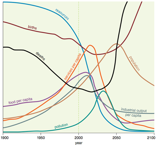 The original projections of the limits-to-growth model examined the relation of a growing population to resources and pollution, but did not include a timescale between 1900 and 2100. If a halfway mark of 2000 is added, the projections up to the current time are largely accurate, although the future will tell about the wild oscillations predicted for upcoming years. Hall and Day, Jr, 2009