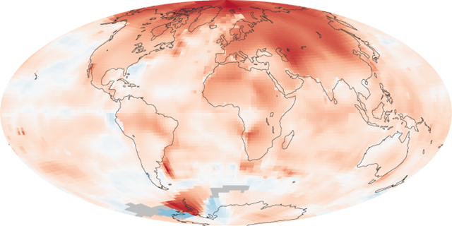 Global Surface Temperature Anomalies, 2000-2010. The map shows temperature anomalies, or changes, for 2000-2009, relative to the period 1951-1980. The maps do not depict absolute temperature, but how much warmer or colder a region is compared to the norm for that same region from 1951-1980. That period was chosen largely because the U.S. National Weather Service uses a three-decade period to define 'normal' or average temperature. NASA images by Robert Simmon, based on data from GISS