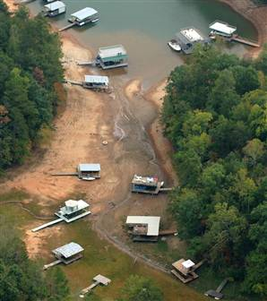 Stranded houseboats at Lake Lanier, Georgia. Tina Fountain