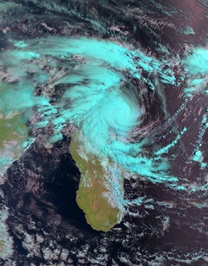 A picture released by Eumetsat on February 14, 2011 shows an image of the tropical Cyclone Bingiza over northeast Madagascar, as captured by the AVHRR instrument onboard EUMETSAT's polar-orbiting satellite Metop-A. AFP PHOTO / EUMETSAT 2011