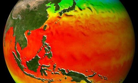 Climate model visualization of sea surface temperatures in the tropical western Pacific. Goddard Space Flight Center Scientific Visualization Studio / NASA