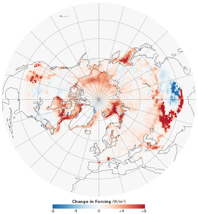 This image shows how the energy being reflected from the cryosphere has changed between 1979 and 2008. When snow and ice disappear, they are replaced by dark land or ocean, both of which absorb energy. The image shows that the Northern Hemisphere is absorbing more energy, particularly along the outer edges of the Arctic Ocean, where sea ice has disappeared, and in the mountains of Central Asia. Image by Rob Simmon, made with data provided by Mark Flanner, University of Michigan