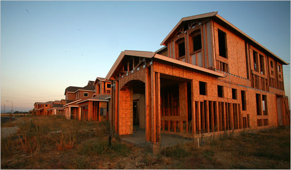 Abandoned Riverstone housing development in the central valley town of Merced, California, 2008. In Merced, frames of houses in the Riverstone development have bleached in the sun for more than a year. In 2008, three-fourths of existing-home sales in Merced County are foreclosures. Jim Wilson / The New York Times