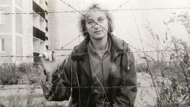 Natalia Manzurova, shown here in 1988 in the 'dead zone' of the Pripyat, is one of the relatively few survivors among those directly involved in the cleanup of Chernobyl. Courtesy of Natalia Manzurova / aolnews.com