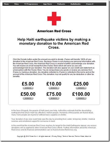 iTunes Red Cross appeal