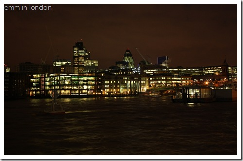 City of London as viewed from Bankside by night