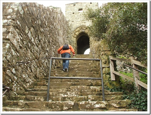 The steps leading up to the motte at Carisbrooke Castle