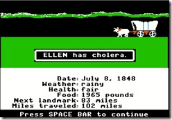 Ellen has cholera on the Oregon Trail