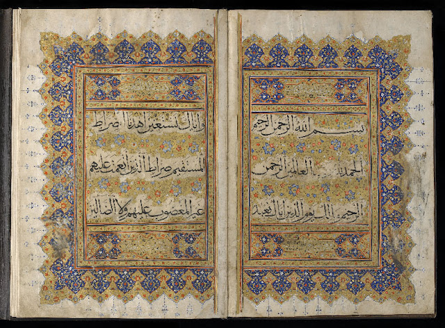 "This Koran has an inscription in the front: ""From the calligraphy of Sultan-Ali Qa'ini in Baghdad in the year 917."" (917 hejira—1511-1512 A.D.) Iran. 14th century. 36.5 x 24.8 cm. Muhaqqaq script. Courtesy of the Arthur M. Sackler Gallery, Smithsonian Institution."