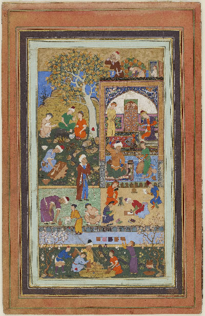 "This piece features the following inscription (on the rug): ""Rely not upon the place of great men unless you have prepared the quality of greatness in yourself.""alligrapher: Mir Sayyid Ali. Iran. 1540 A.D. 37.2 x 23.9 cm. Courtesy of the Arthur M. Sackler Gallery, Smithsonian Institution."