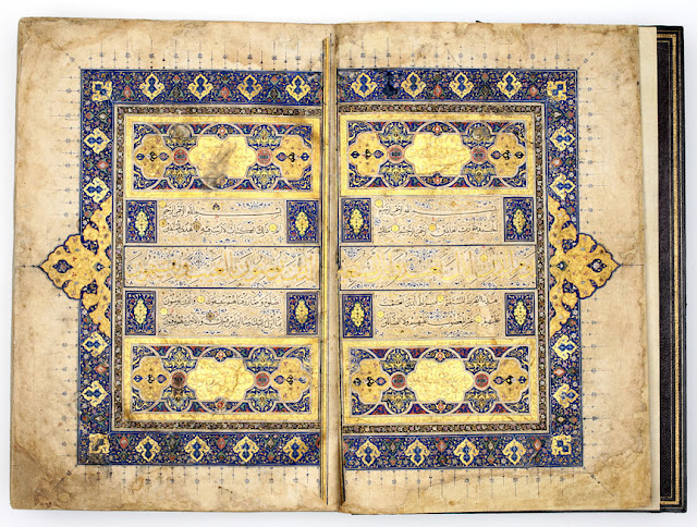 The illumination of the opening spread is in the Timurid Herati style of the late 15th century.Herat or Tabriz, Iran. 1525-1550 A.D. Thuluth and Naskh scripts. 36 x 24.5 cm. Courtesy of the Nasser D Khalili Collection of Islamic Art.