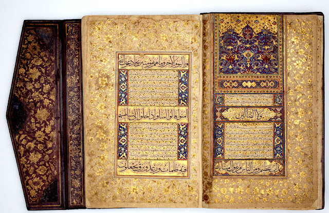 This splendidly-illuminated folio from the Koran has three lines of Muhaqqaq and 12 lines of naskh per page. The original work was most likely re-done in Mughal India under Shah Jahan.