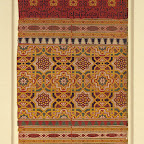 "Textile fragment, 14th century; Nasrid, Spain:This silk textile fragment, of which the full loom width (hung vertically) is preserved, displays two scripts. The knotted kufic inscription woven in black repeats the word beatitude and runs on a wide red-ground border. The decorative calligraphy is in harmony with the geometric design of the fabric. The naskhi script, which reads, ""good luck and prosperity,"" is less easily discernible, filling the small cartouches outlined in white lines within the narrower borders on both sides of the larger kufic band. The overall geometric design of the textile has close connections with architectural decoration, especially the stuccowork and wall tiles of Nasrid buildings. Similar woven textiles continued to be produced under Christian patronage after the fall of the Nasrid kingdom in 1492, testifying to their aesthetic appeal for Christians as well as Muslims."