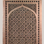 Jali screen (one of a pair), second half of 16th century; Mughal, India: Jalis (pierced screens) were used extensively in Indian architecture as windows, room dividers, and railings around thrones, platforms, terraces, and balconies. Installed in outer walls, they were ideal for cutting down glare while permitting air to circulate. During the day, the reflection of their patterns moving across the floor would double the pleasure of their intricate geometry. The architecture and weathering on one side suggest that this jali was probably part of a series of windows set in an outside wall.