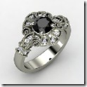Round Black Diamond White Gold Ring with Diamond
