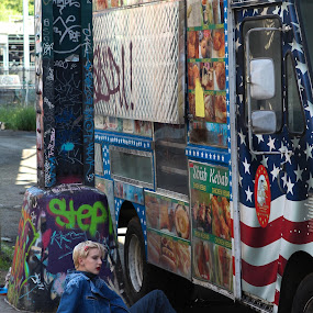 Woman and Food Truck by VAM Photography - People Street & Candids ( cities, truck, graffiti, woman, places,  )