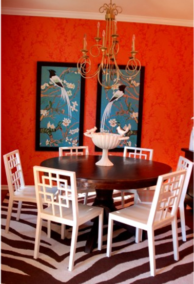 According to Jessica Claire: Get the Look: Punchy Coral Dining Room
