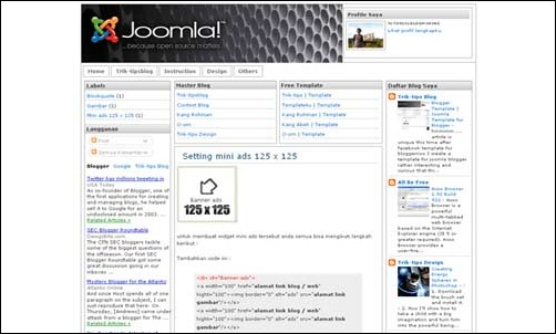 Joomla Style Template for Blogger