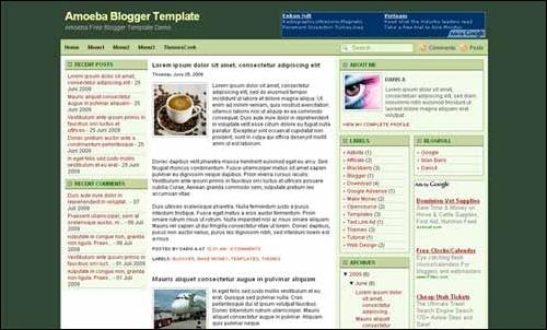 amoeba blogger template