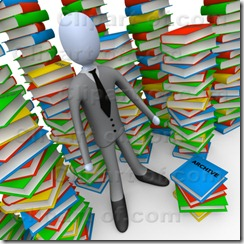 Businessman Doing Research In A Library Full Of An Unorganized Mess Of Colorful Stacked Books Clipart Illustration Image