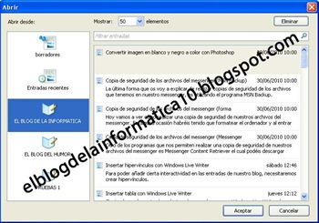 Editar entradas publicadas con Windows Live Writer