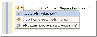 Resharper 5 - Smart Tag showing option to replace with String.IsNullOrEmpty