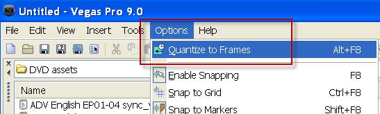 vegas frame quantize
