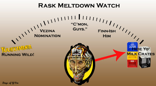 Rask is on Full Milkcrate Meltdown watch tonight