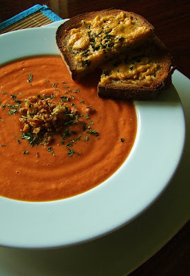 "Spanish Gazpacho Soup with Vegan ""Cheese"" Toast"