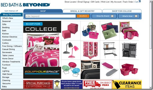 Bed Bath & Beyond College Ad 7.11.2009
