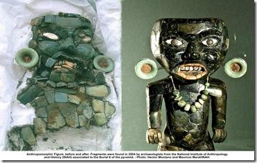 Antes y después figura restaurada de la cultura Teotihuacana.