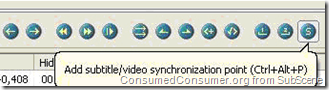 "To sync the subtitle, click on ""Add Subtitle/Video Synchronization Point"" or press Ctrl+Alt+P:"