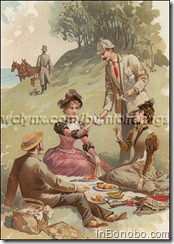 "Accustomed to the luxuries of life, the dapper men and stylish women who made up this 1880's four-some, could afford to flaunt society's rigid rules against women smoking. However, it probably didn't hurt to be picnicking at a lonely but romantic seaside setting, far from any Victorian gossips. Allen & Ginter's Richmond Straight Cut Cigarettes had a reputation for 'old-time goodness,' and these wealthy smokers would have insisted on the subtle richness and delicate aroma of ""the first high grade-cigarette made in the United States."" (jbo)"
