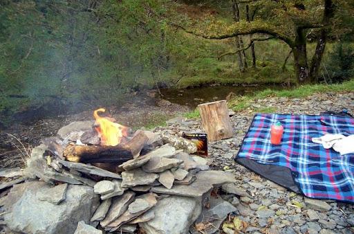 Fireplace outside yurt