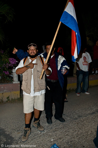 UDP supporters celebrating a victorious municipal election 2009 on Queen Victoria Avenue, Orange Walk Town.